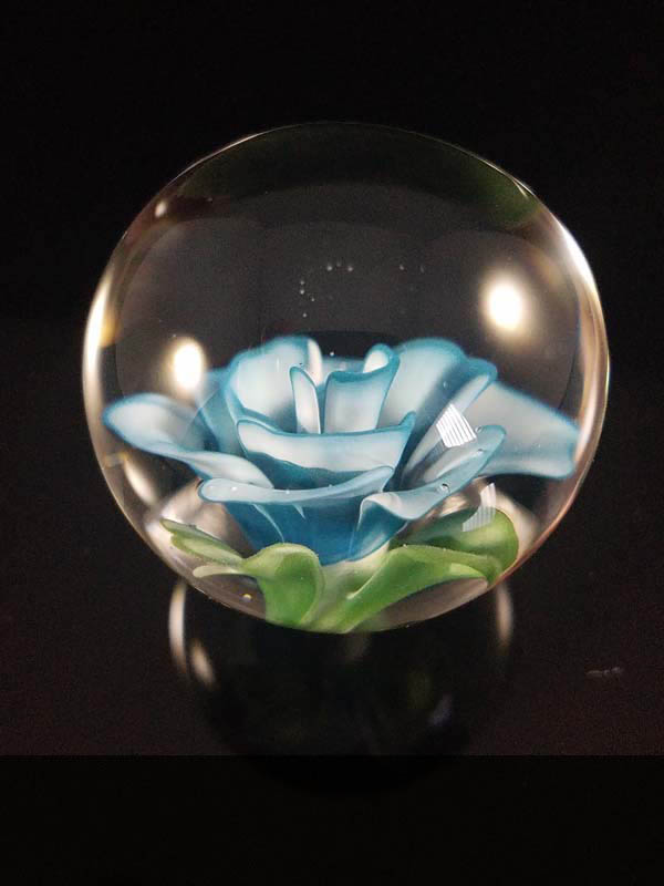 "Winter Rose, 2017, flameworked glass, 1.5"" x 1.5"""