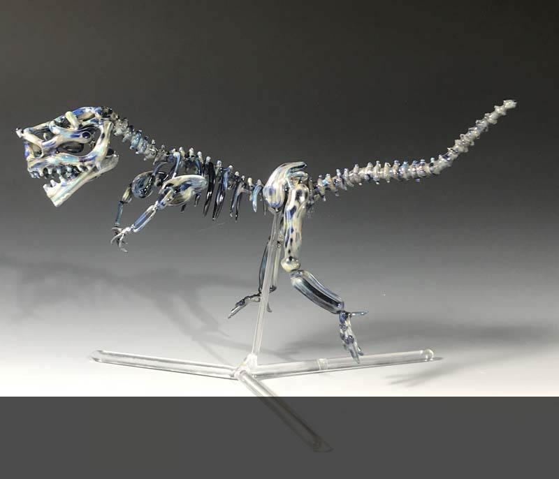 """Dino, 2018, flameworked glass, 7"""" x 12"""" x 5"""""""