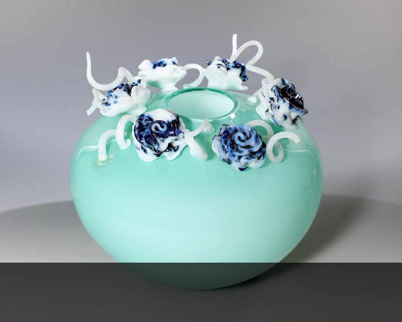 "Floral Bowl, blown and hot sculpted glass, 9"" x 10"" x 10"""